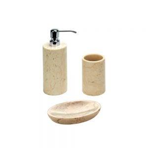 Beige kylpyhuonesetti. Settiin kuuluu :saippua-annostelija, eli saippuapumppu, lasi esimerkiksi hammasharjalle sekä saippuapidike eli saippuateline