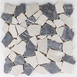 Bianconero Irregular marmorimosaiikki