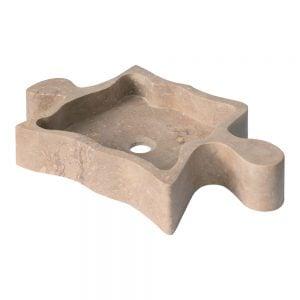 Puzzle Travertino Noce. Ultramoderni, taideteoksellinen kiviallas travertiinista. Kylpyhuoneen ehdoton katseenkääntäjä.