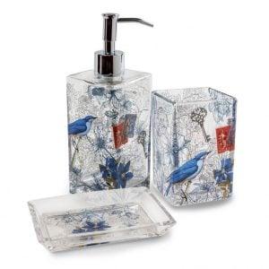 Blue Birds - koristeellinen kylpyhuonesetti